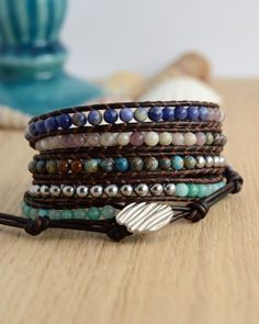 Silver turquoise blue and pink wrap bracelet by SinonaDesign, €72.00