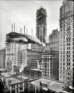 (c. 1907) Singer Building under construction - NYC