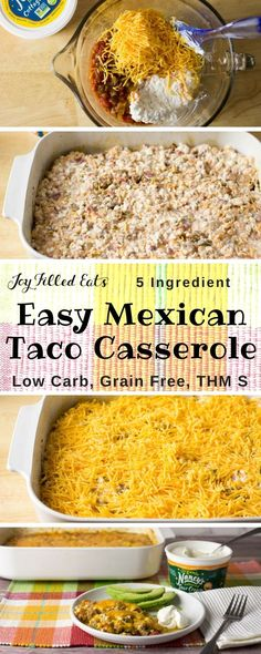 Easy Mexican Taco Casserole - Low Carb, Grain Gluten Free, THM S - This Easy Mexican Taco Casserole really hit the spot. With only 5 ingredients and a 5 minute prep time it is a lifesaver on busy weeknights. via Joy Filled Eats - Gluten Sugar Free Recipes Taco Casserole Low Carb, Low Carb Casseroles, Taco Casserole With Tortillas, Low Carb Cheeseburger Casserole, Easy Mexican Casserole, Low Carb Taco Soup, Low Carb Breakfast Casserole, Low Carb Breakfast Easy, Pizza Casserole