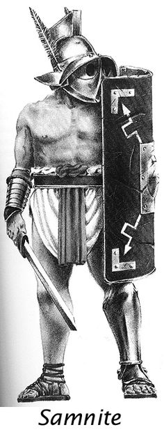 The Samnite took his name from those people defeated by Rome's Capuan allies in 312 BCE. and the armour he wore and the weapons he used were supposedly adopted as a sign of contempt for the Samnites. He used a large oblong shield (scutum) and wore a metal or boiled leather greave (ocrea) on his left leg. He also wore a visored helmet (galea) with a large crest and plume and was armed with a sword (gladius).