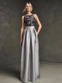 A-Line/Princess Scoop Sleeveless Satin Floor-Length Prom Dress