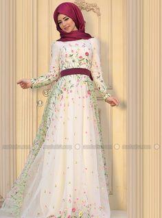 Valeriya Evening Dress - Ecru - Zehrace