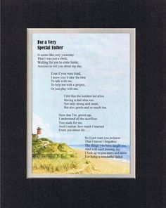 Touching and Heartfelt Poem for Fathers - For a Very Special Father Poem on 11 x 14 inches Double Beveled Matting
