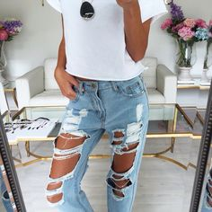 White tee, ripped jeans & tan. ❋