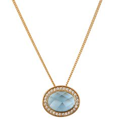 Colar Semi Joia com Banho de Ouro 18k, Cristal Azul e Detalhes com Cravação de Zircônias.