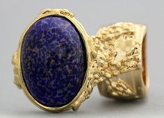 Arty Oval Ring Lapis Blue Purple Vintage Glass Gold Flecks Chunky Knuckle Art Statement Size 8