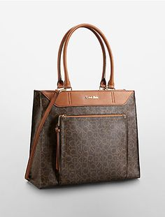 Image for hudson logo leather large tote bag from Calvin Klein