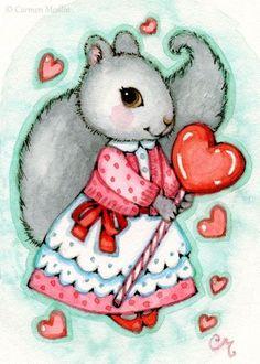 Art 'Lollipop Valentine ACEO' - by Carmen Medlin from Sold Art