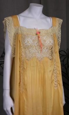1927 Nightie with Revealing Lace Insert to Front Early Vintage