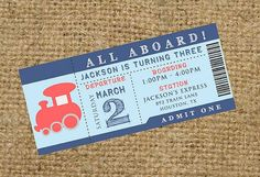 PRINTABLE All Aboard Train Birthday Party or Baby Shower Ticket Invitation
