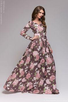 Купить длинное хлопковое платье с крупным цветочным принтом в интернет-магазине 1001 DRESS