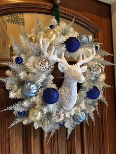 Christmas Deer Christmas Wreath, with Silver, Gold, and Royal Blue Ornaments, on White Garland and S Blue Christmas Tree Decorations, Silver Christmas Tree, Coastal Christmas, Etsy Christmas, Christmas Colors, Holiday Wreaths, White Christmas, Christmas Displays, Christmas Arrangements