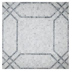 Complete Tile Collection Unique Mosaic Tile Patterns, Geomeni Mosaic, MI#: 268-S2-400-815, Color: Bianco Carrara & Mugwort Grey-Green, One Sheet