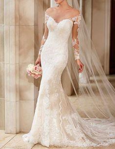 LovingDress Women's Chiffon&Tulle Mermaid Long Sleeves 2016 Wedding Dress: Amazon Fashion