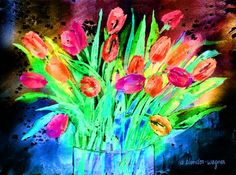 Bold Tulips Mixed Media by Arline Wagner