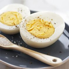 6 eggs in saucepan cold water 1 inch higher.  Heat on high to just boiling.  Remove from burner.  Cover pan.  Let eggs stand covered for 9 min med eggs - 15 min XL eggs.  Drain immediately.  Cool Completely under cold running water.  Refrigerate for up to a week.