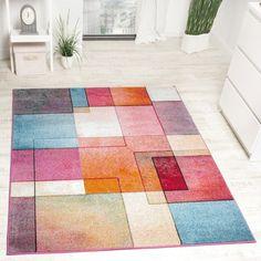 Designer Teppich Modern Bunt Karo Muster Multicolour Türkis Grün Fuchsia Meliert, Grösse:200x280 cm: Amazon.de: Küche & Haushalt