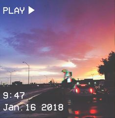 M O O O N V E I N S 1 0 1         #vhs #aesthetic #sunset #road #sky #pink #yellow #blue #cars