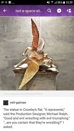 """maniacalmole: """" basilhalwrad: """"the thought of aziraphale being in Crowley's flat and seeing that fucking statue every single time he's there. like hi crowley, oh there's the statue of us fucking that. Destiel, History Facts, Art History, Funny Cute, Hilarious, Tumblr Stuff, Art Memes, Crowley, Pics Art"""