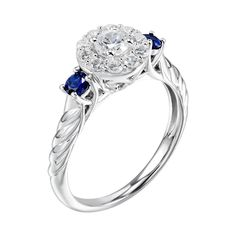 DiamonLuxe 1/2 Carat T.W. Simulated Diamond & Lab-Created Sapphire Sterling Silver Halo Ring