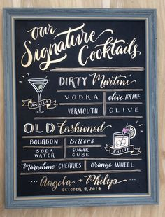 Signature Drink Sign Wedding Sign: Hand Painted by papertangent