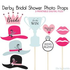 Hosting a KY Derby Bridal Shower? Use these printable props for fun shower photos!  Derby Bridal Shower Photo Prop Signs + Derby Bridal Shower BINGO game + Fancy Hat Contest also available. See OTHER OPTIONS section below.  ******************************  Whats included:  Three 8.5 x 11 inch [ Letter Sized ] digital PDF files containing:  (1) Crown for Bride (3) Fancy Hats - Grey, Pink, Black (1) Trophy - For The Win (2) Lips - Medium + Dark Pink (1) Heart - Showered With Love (1) Ring Bling…