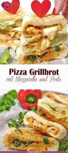 Filled pizza grill bread, for real - Delicious pizza grilled bread with mozzarella, pesto and fresh vegetables. Barbecue Recipes, Grilling Recipes, Veggie Recipes, Bread Recipes, Vegetarian Grilling, Healthy Grilling, Snacks Recipes, Barbecue Sauce, Veggie Food