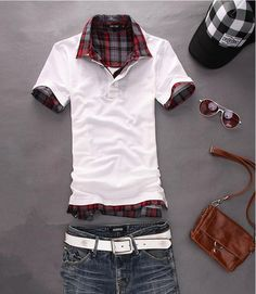 Mens Fashion Casual Slim Fit T shirt Polo shirt with small sizes(XS S M L)
