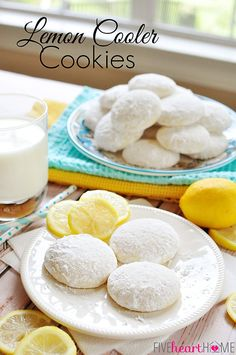 Lemon Cooler Cookies ~ bursting with fresh lemon juice, lemon zest, and real butter, and coated in lemon-infused powdered sugar | FiveHeartHome