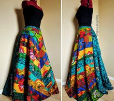 Carefree Muse - Long, Bright African Patchwork Skirt, Ooak Ethnic Bohemian chic, Rich colors, can fit sizes - S to XL Boho Outfits, Fashion Outfits, Womens Fashion, Modest Fashion, African Print Skirt, African Prints, Style Africain, Fishtail Skirt, Estilo Hippie