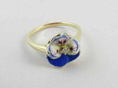 Signed Larter & Co antique Edwardian 14k gold enamel pansy diamond ring