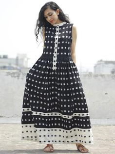 Black Ivory Handwoven Ikat Sleeveless Dress With Side Pockets- New Dress, Dress Up, Buy Dresses Online, Maxi Gowns, Asymmetrical Dress, Indian Dresses, Ikat, Cotton Dresses, Dress Collection