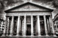 #architecture #black and white #building #columns #italy #pantheon #paris #pillars