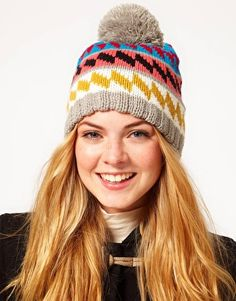 Miss Pom Pom Exclusive To ASOS Diamond Beanie Hat