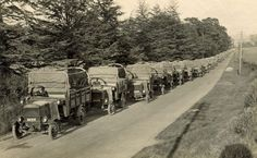 https://flic.kr/p/sDx2hr | Thornycroft Lorries | A posed photograph showing one weeks output of Service waggons from Thornycroft in Basingstoke. The photograph was taken in May 1915, along Worting Road and shows at least 17 vehicles drawn up along the highway.   HMCMS:DPAAFK88