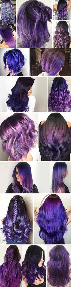 Dark purple hair is quite bold, and that is a fact. But if to compare dark purple hues with purple hues, the former are more mature and sophisticated. #haircolor #purlehair #darkpurple