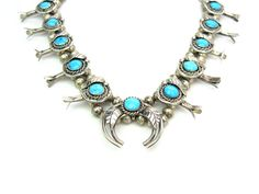 """Squash Blossom Necklace. Crescent Naja. Native American Sterling Silver & Turquoise. Vintage Navajo Southwestern Style Jewelry. 24"""" long"""