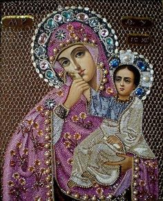Diamond Pictures Rhinestones Mother Baby Our Lady Diamond Custom DIY Embroidery Stitch Custom Photo Gift Pictures Mosaic Religious Images, Religious Icons, Religious Art, Blessed Mother Mary, Blessed Virgin Mary, Immaculée Conception, Images Of Mary, Lady Images, Mama Mary