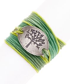 Take a look at the Grasshopper Tree of Life Silk Wrap Bracelet on #zulily today!