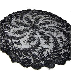 Beautiful Antique Vinatge Victorian Edwardian Black Chantilly Lace Parasol Cover