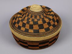 Africa | Basket, West African, before 1947, Overall: 22 cm x 32 cm, grass, bark