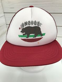 b5dd721d435 O Neill California Bear Flag Red White Snap Back Trucker Mesh Hat Surf   ONeill