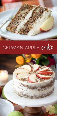Delicious German Apple Cake Recipe #germanapplecake #applecake #fallbaking #cake #fall #cinnamon #recipe #dessert Fall Dessert Recipes, Apple Cake Recipes, Apple Desserts, Fall Desserts, Chocolate Recipes, Strawberry Desserts, Fall Recipes, Cinnamon Recipe, German Apple Cake