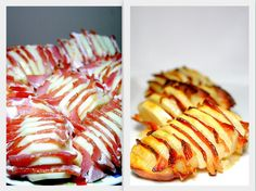 I wanted to pin the Bacon Sheet--woven bacon for a perfect BLT, but there wasn't a picture! The Bacon Potato wasn't what I was pinning, although it looks good, too. Oven Cheesy Potatoes, Bacon Ranch Potatoes, Loaded Baked Potato Soup, Bacon Potato, Hasselback Potatoes, Cheese Potatoes, Baked Potatoes, Sweet Potato, Bacon Recipes