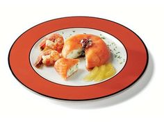 Timbale of smoked salmon with shrimps and sliced apple Mostarda Lazzaris