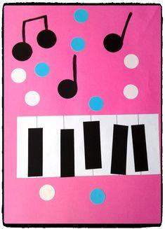 piano et notes de musique, fete de la musique, été, activités enfant, gommettes