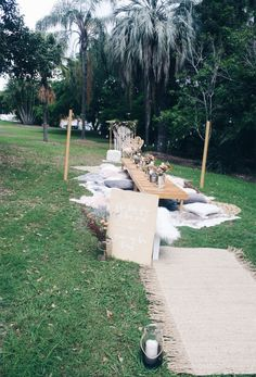 Bohemian picnic in the park set up styled by Harper Arrow