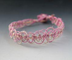 Lace - Micro Macrame Hemp Bracelet - Friendship Bracelet - 8 Inch Bracelet - Bohemian Hippy - Pink Tan Cream