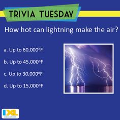 Check out this Trivia Tuesday question and see if the answer strikes you. (Answer here: https://www.facebook.com/IXL/photos/a.366469926761158.83634.358584784216339/1350822551659219/?type=3&theater)