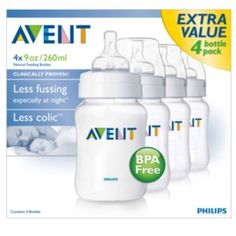 Avent+4-pk.+BPA-Free+Classic+Feeding+Bottles+-+9+oz.